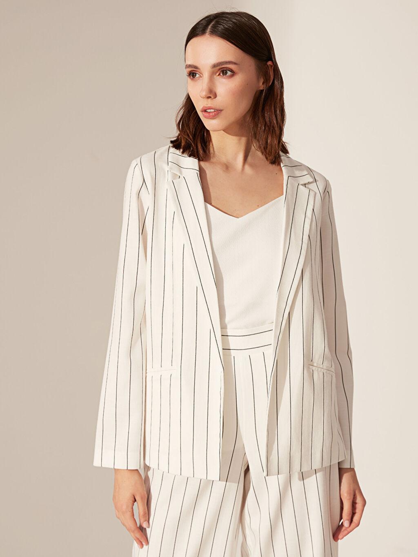 %64 Polyester %33 Viskon %3 Elastan Uzun Kol Standart Çizgili Ceket Standart İnce Çizgili Blazer Ceket