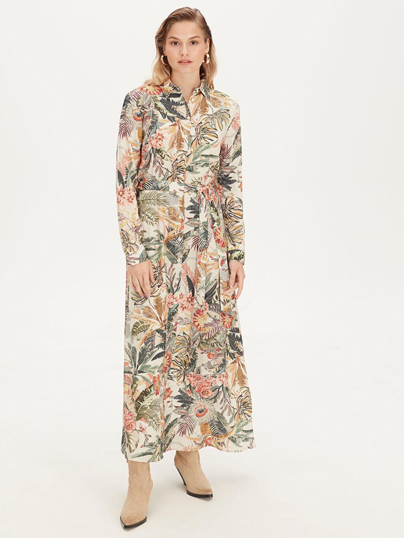 Bej Desenli Viskon Gömlek Elbise 9SQ833Z8 LC Waikiki