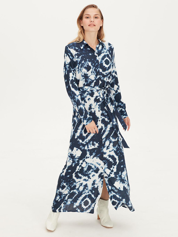 %100 Viskoz Elbise Ofis/Klasik Standart Baskılı Astarsız Uzun Uzun Kol Gömlek Elbise Desenli Viskon Gömlek Elbise