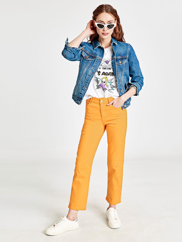 %98 Pamuk %2 Elastan Standart Normal Bel Beş Cep Pantolon Düz Düz Paça Pantolon