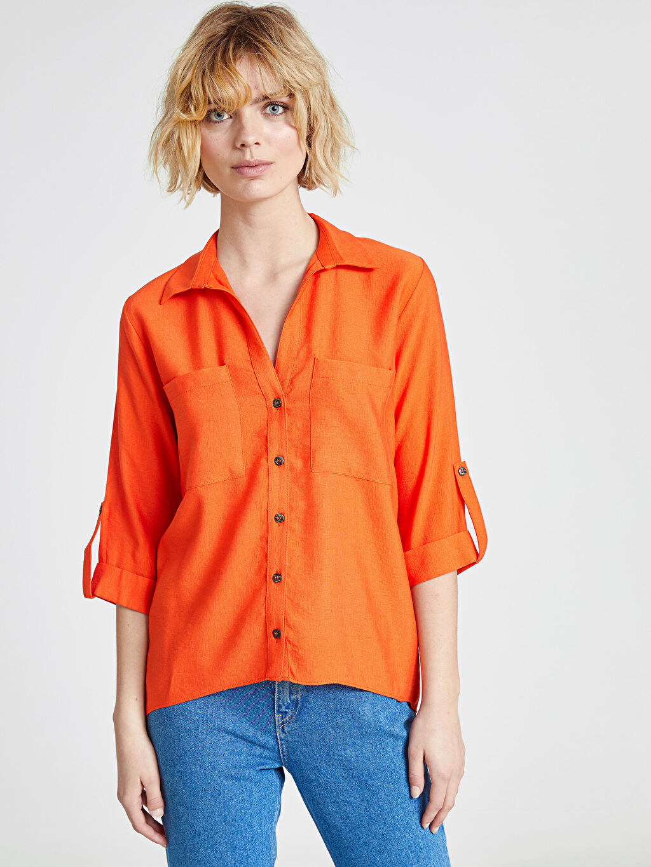 %14 Polyester %86 Viskon Uzun Kol Düz Standart Düğmeli Gömlek Yaka Gömlek Düz Cep Detaylı Viskon Gömlek