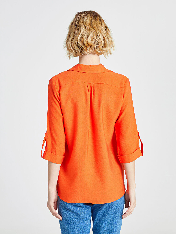 Kadın Cep Detaylı Viskon Gömlek