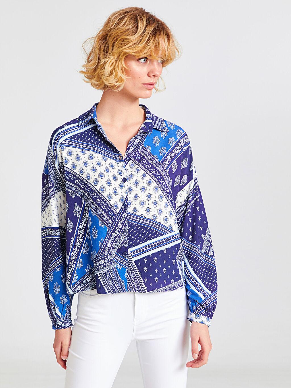 %100 Viskoz Uzun Kol Standart Düğmeli Gömlek Yaka Gömlek Desenli Viskon Gömlek