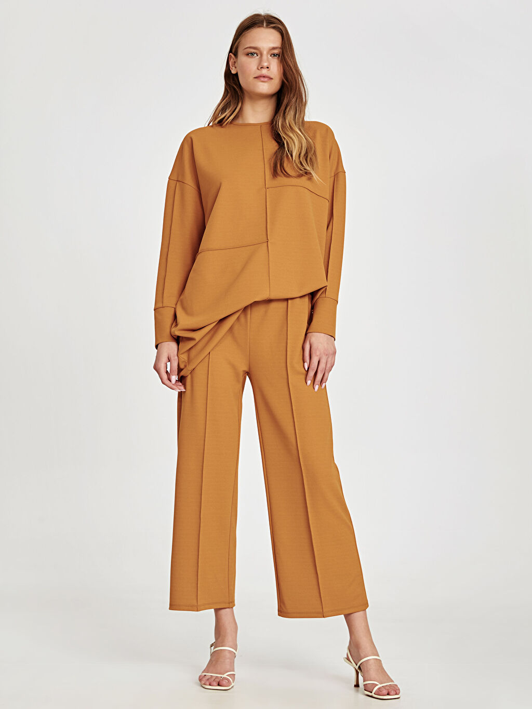 %98 Polyester %2 Elastan Pantolon Normal Bel Bol Geniş Paça Lastikli Bel Beli Lastikli Bilek Boy Geniş Paça Pantolon