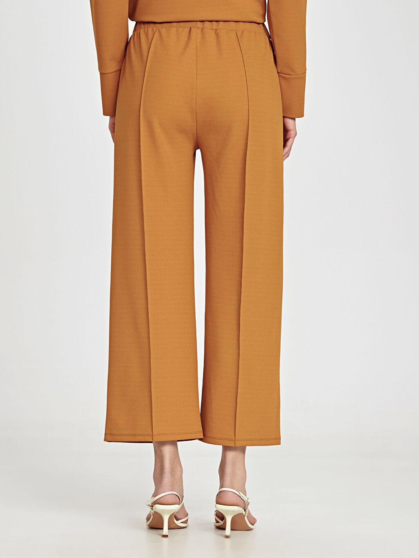 %98 Polyester %2 Elastan Beli Lastikli Bilek Boy Geniş Paça Pantolon