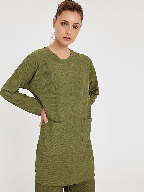 %96 Polyester %4 Elastan  Cep Detaylı Tunik