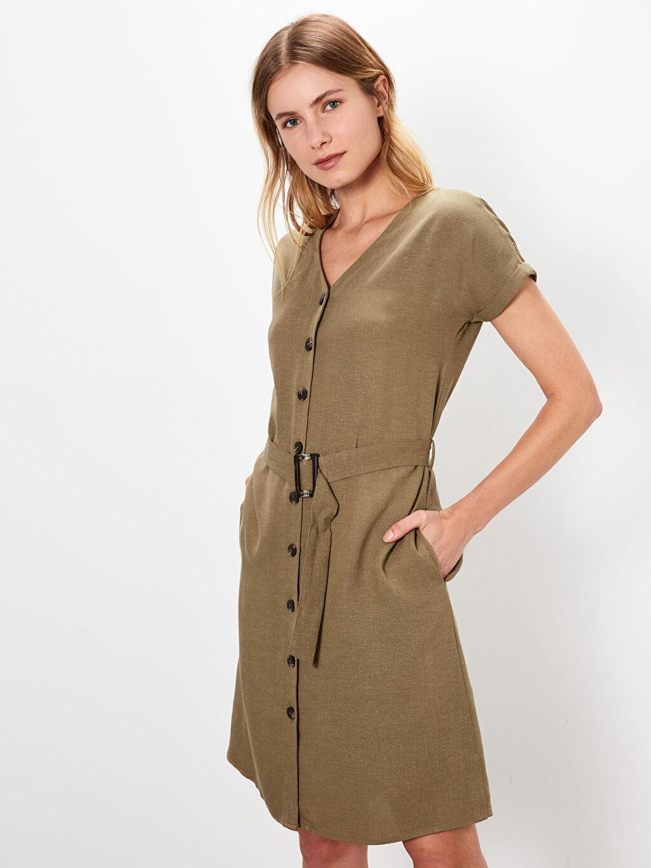 %23 Keten %77 Viskoz Elbise Ofis/Klasik Düz Midi Gömlek Elbise Poplin Standart Astarsız Kısa Kol V Yaka Pamuklu Kuşaklı Elbise