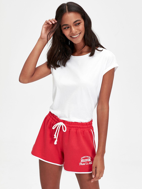 %60 Pamuk %40 Polyester Normal Bel Şort İnce Sweatshirt Kumaşı Kısa Standart Beli Lastikli Yazı Baskılı Şort