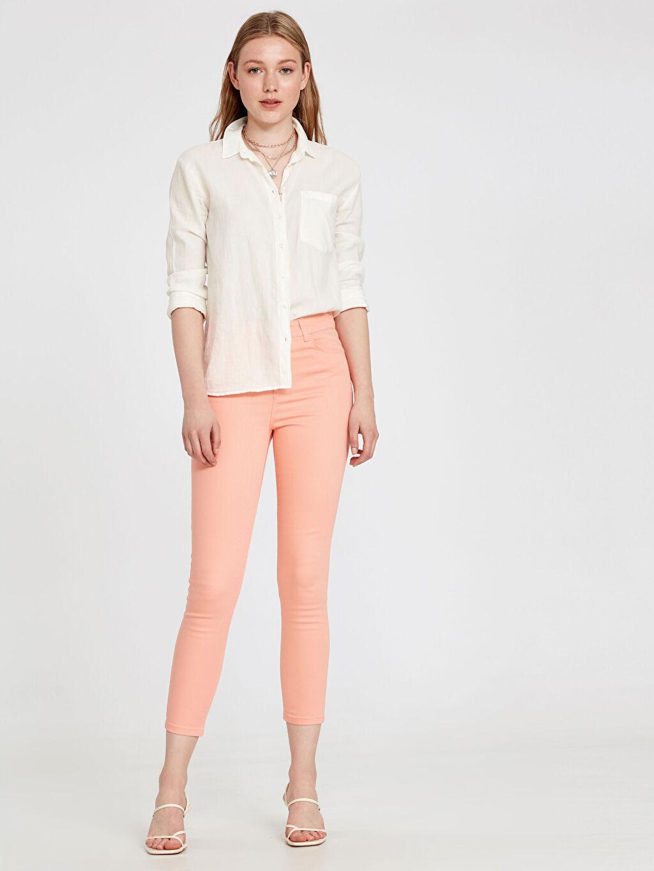 %98 Pamuk %2 Elastan Normal Bel Beş Cep Skinny Pantolon Düz Dar Paça Gabardin Bilek Boy Skinny Pantolon