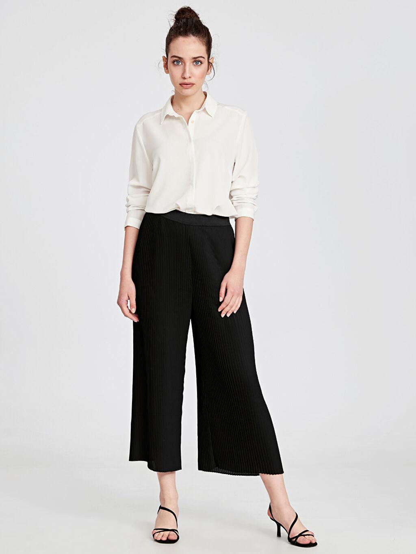 %100 Polyester Bol Şifon Pantolon Geniş Paça Düz Yüksek Bel Bilek Boy Bilek Boy Beli Lastikli Pilili Palazzo Pantolon
