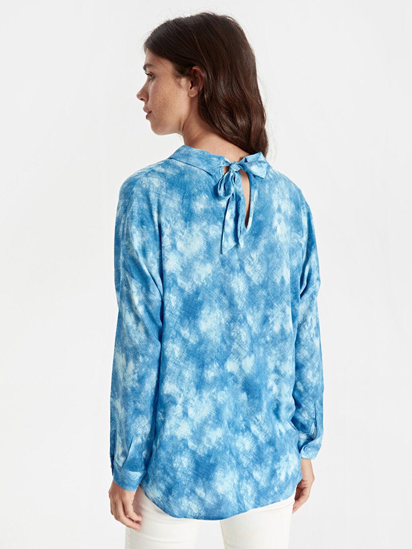 %100 Viskoz Uzun Kol Gömlek Düz Standart Düğmeli Gömlek Yaka Boyundan Bağlamalı Vual Gömlek