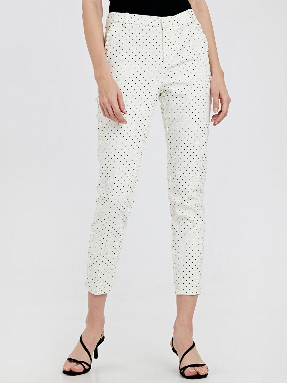 %54 Pamuk %42 Polyester %4 Elastan Bilek Boy Çift Yüzlü Kumaş Normal Bel Dar Pantolon Puantiye Bilek Boy Puantiyeli Kumaş Pantolon