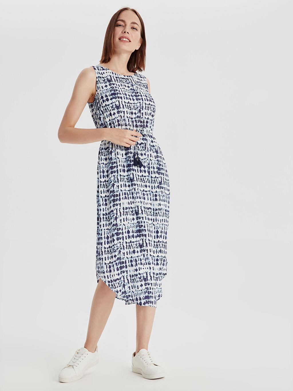 %100 Viskoz Midi Elbise Kolsuz Standart Beli Lastikli Baskılı Astarsız Beli Büzgülü Desenli Viskon Elbise