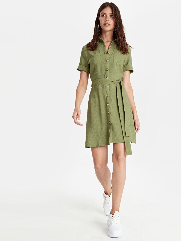 Haki Kuşaklı Gömlek Elbise 9SU600Z8 LC Waikiki