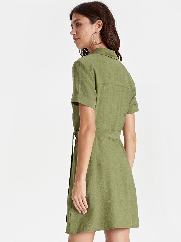 Kadın Kuşaklı Gömlek Elbise