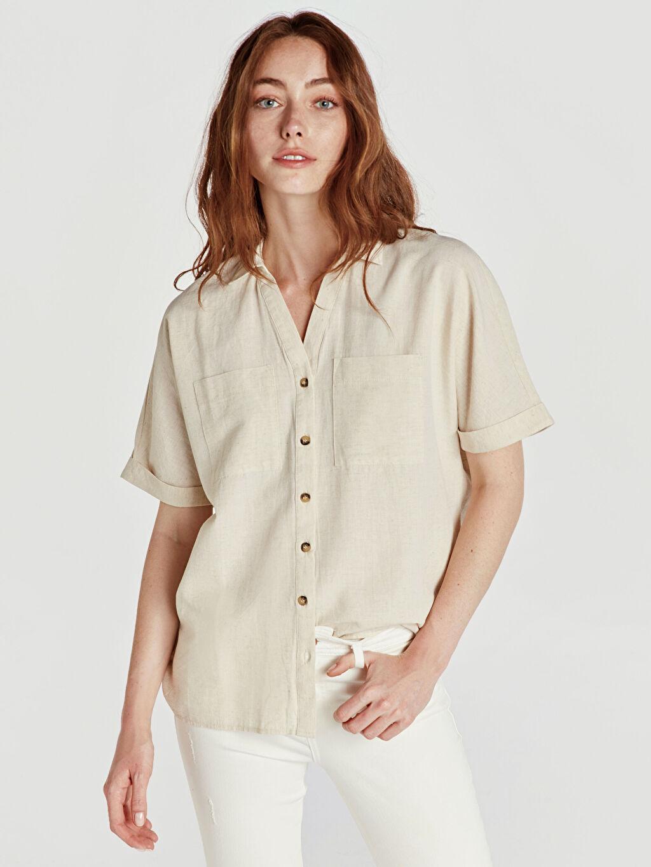 %81 Pamuk %19 Keten Gömlek Düz Kısa Kol Düz Standart Düğmeli Gömlek Yaka Cepli Pamuklu Gömlek