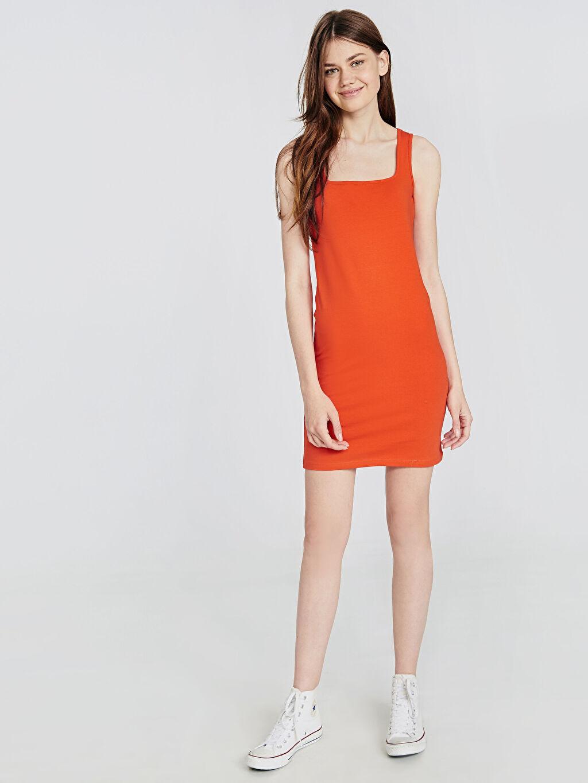 Kırmızı Esnek Pamuklu Mini Elbise 9SU960Z8 LC Waikiki