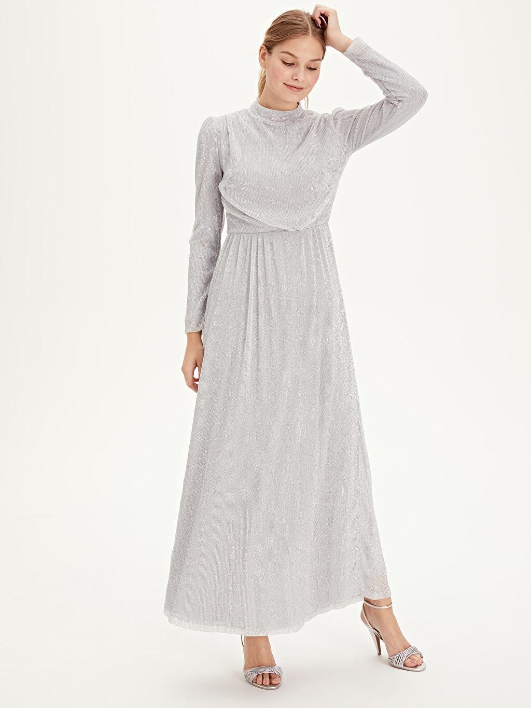 %60 Polyester %40 Metalik iplik %100 Polyester Fit&Flare Abiye Baskılı Uzun Kol Elbise Işıltılı Uzun Şifon Abiye Elbise