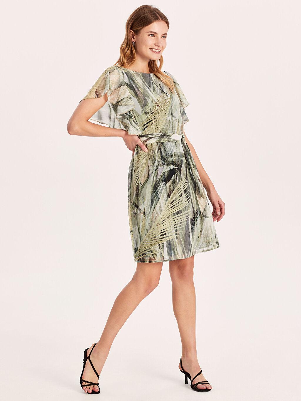%100 Polyester %100 Polyester Elbise Ofis/Klasik Standart A Kesim Midi Baskılı Astarsız Şifon Kısa Kol Desenli Fırfırlı Şifon Elbise