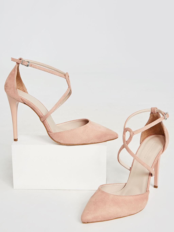 Pembe Kadın Çapraz Bantlı Stiletto Ayakkabı 9SY581Z8 LC Waikiki