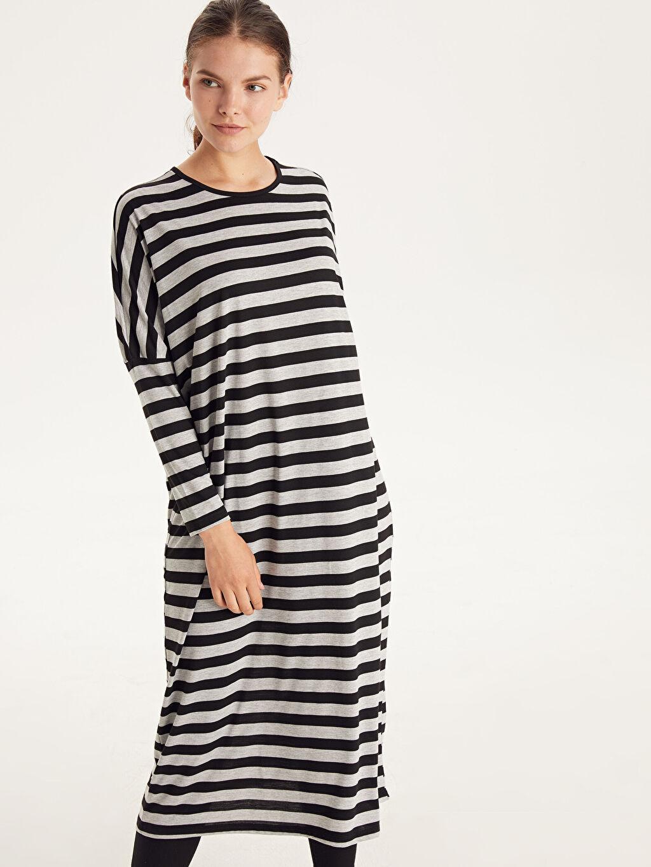 Siyah Çizgili Salaş Elbise 9SB954Z8 LC Waikiki