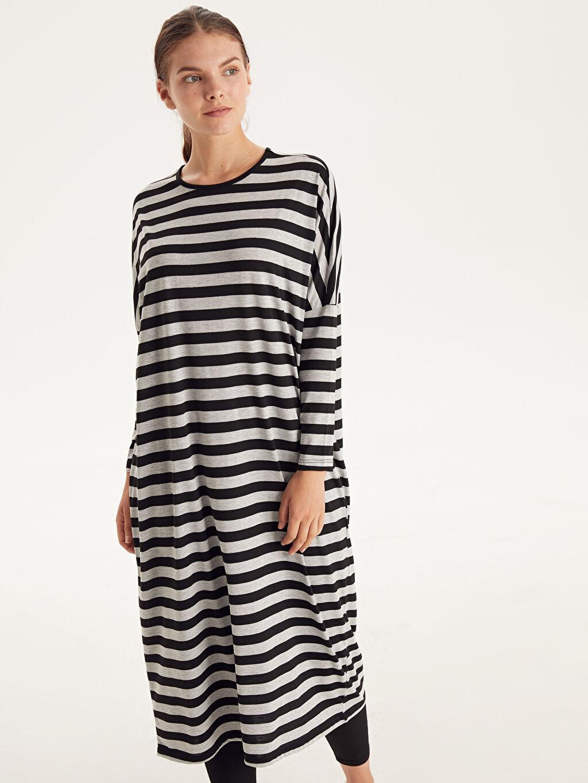 Uzun Kol Çizgili Penye Elbise Ofis/Klasik Shift Çizgili Salaş Elbise