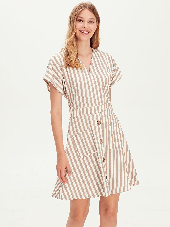 Kadın Kruvaze Yaka Çizgili Elbise