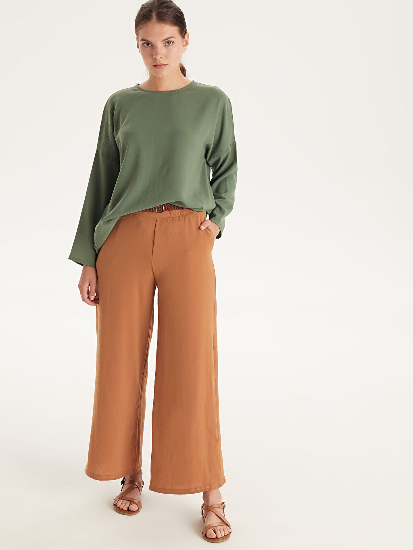 %100 Polyester Standart Normal Bel Pantolon Örgü Kemerli Bol Pantolon