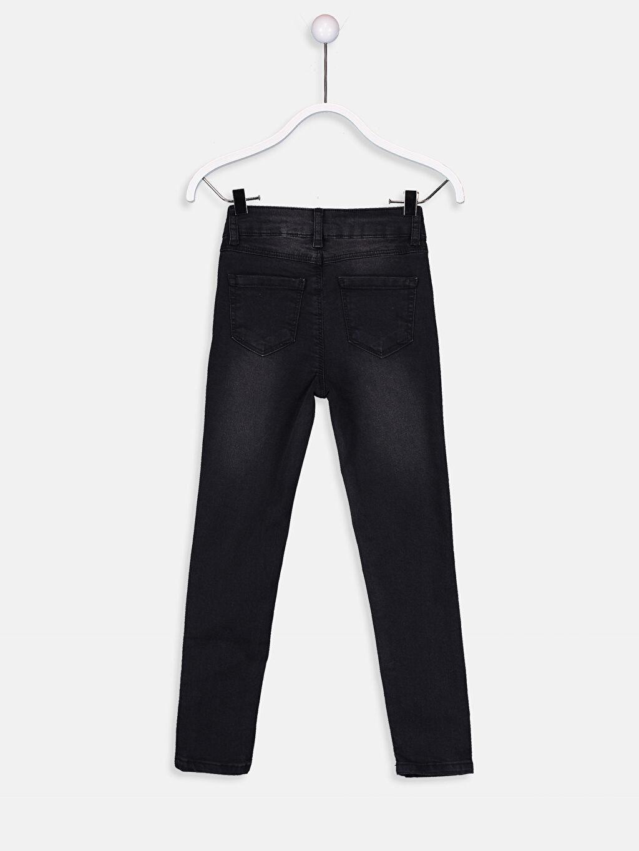 %73 Pamuk %26 Polyester %1 Elastan Aksesuarsız Normal Bel Astarsız Dar Jean Düz Dar Paça Kız Çocuk Skinny Jean Pantolon