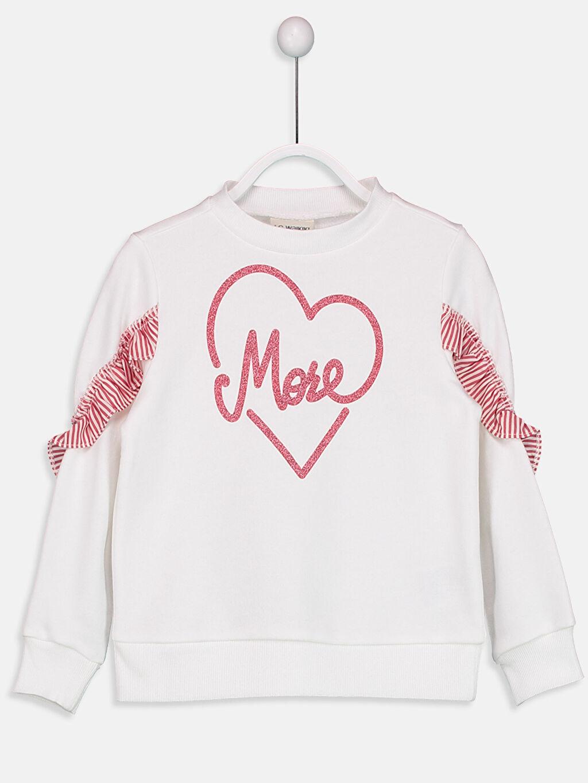 Ekru Kız Çocuk Kolları Fırfır Detaylı Sweatshirt 9S1460Z4 LC Waikiki