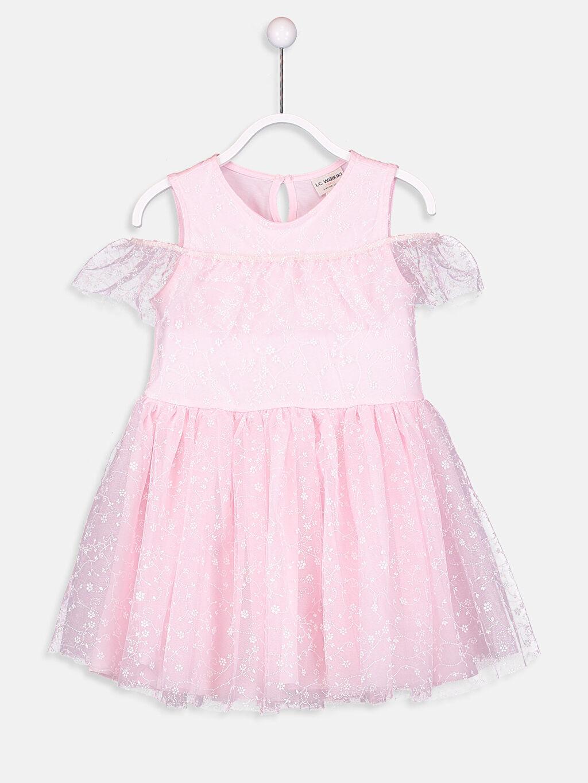 %100 Polyester %100 Pamuk Elbise Tütü Tül Diz Üstü Bisiklet Yaka Düz 23 Nisan Kız Çocuk Pembe Tütü Elbise