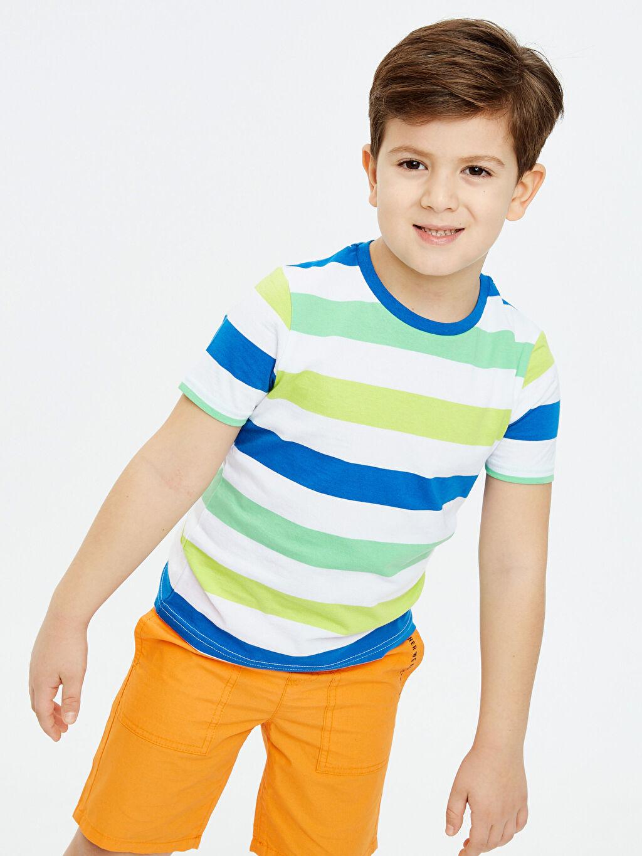 Mavi Erkek Çocuk Çizgili Pamuklu Tişört 9S2716Z4 LC Waikiki