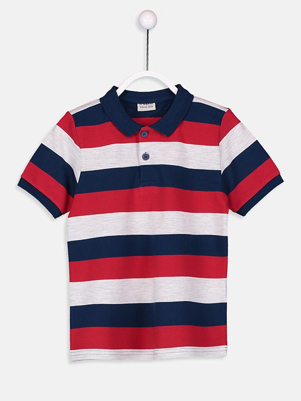 %99 Pamuk %1 Polyester %100 Pamuk Çizgili Tişört Pike Polo Yaka Standart Erkek Çocuk Çizgili Pamuklu Tişört