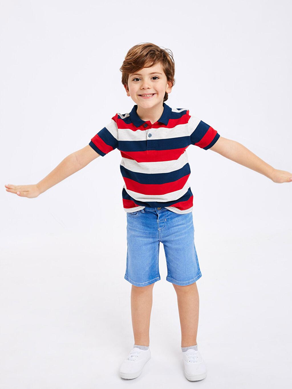 Lacivert Erkek Çocuk Çizgili Pamuklu Tişört 9S2721Z4 LC Waikiki