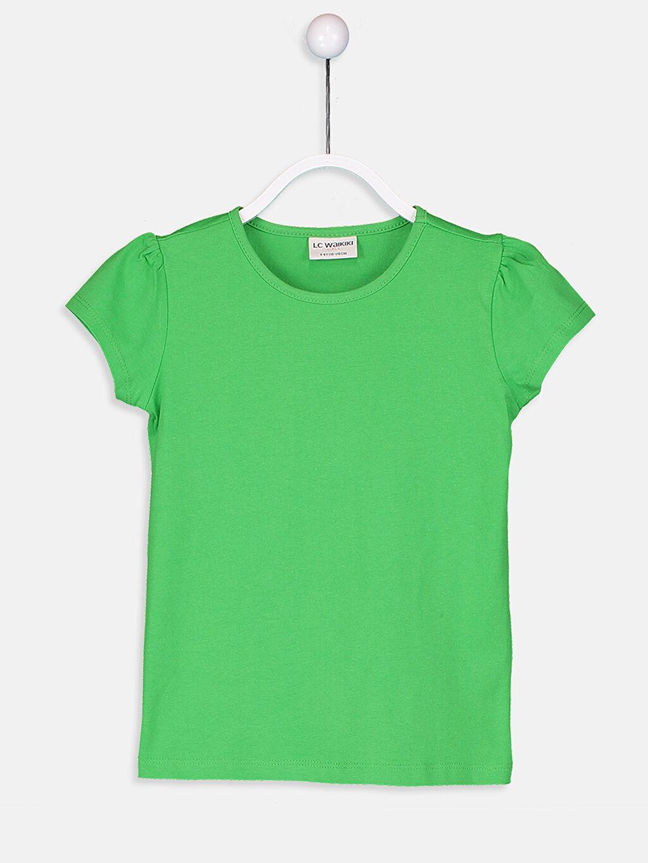 Yeşil Kız Çocuk Pamuklu Basic Tişört 9S2892Z4 LC Waikiki