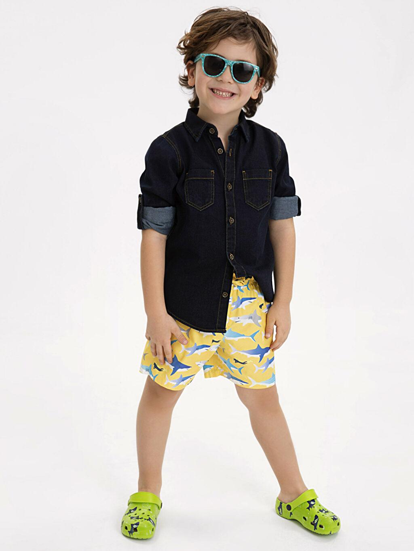 Sarı Erkek Çocuk Baskılı Deniz Şortu 9S4735Z4 LC Waikiki