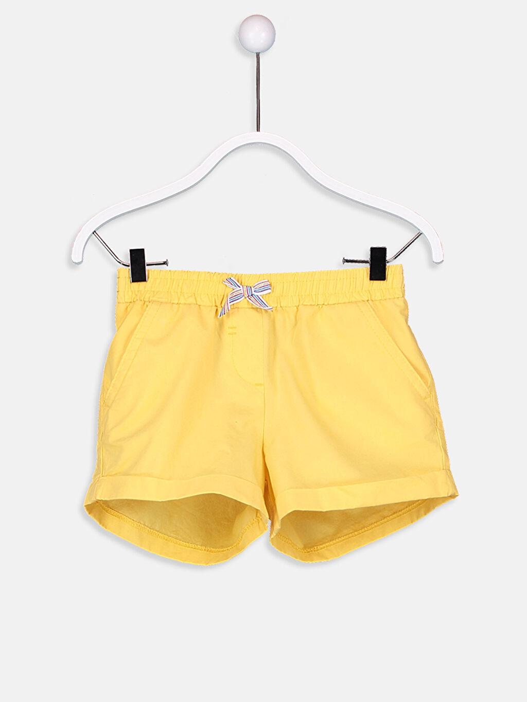 Sarı Kız Çocuk Beli Lastikli Poplin Şort 9S6222Z4 LC Waikiki