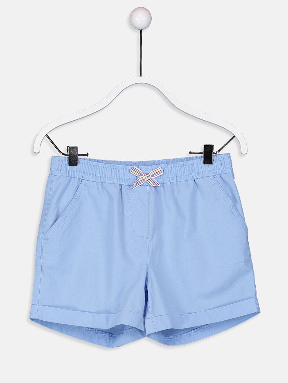 Mavi Kız Çocuk Beli Lastikli Poplin Şort 9S6222Z4 LC Waikiki