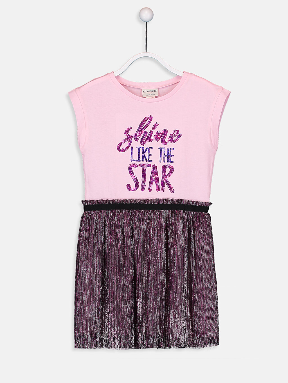 Pembe Kız Çocuk Pul İşlemeli Pamuklu Elbise 9S7976Z4 LC Waikiki