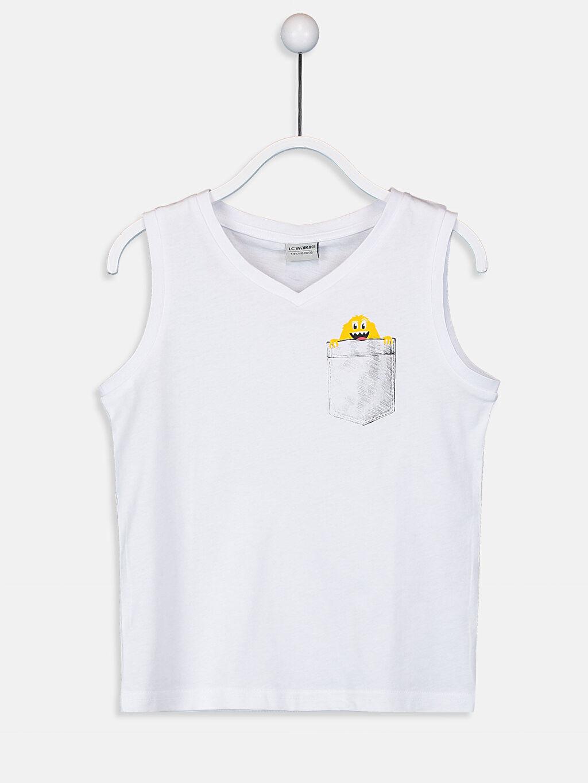 Beyaz Erkek Çocuk V Yaka Basic Atlet 9S7988Z4 LC Waikiki