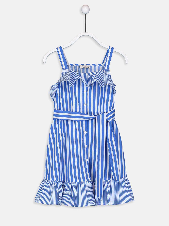 Mavi Kız Çocuk Çizgili Poplin Elbise 9S9317Z4 LC Waikiki