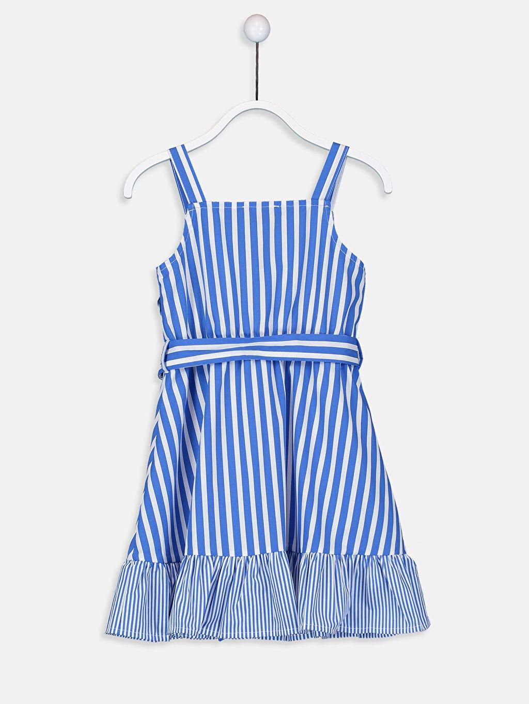 %100 Pamuk %100 Pamuk Belden Oturtma Elbise Poplin Çizgili Diz Üstü Kız Çocuk Çizgili Poplin Elbise