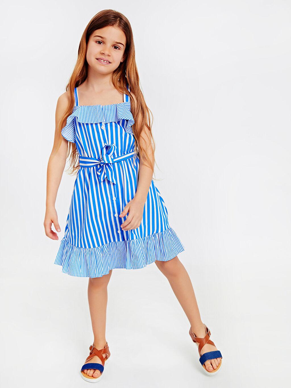 %100 Pamuk Kız Çocuk Çizgili Poplin Elbise