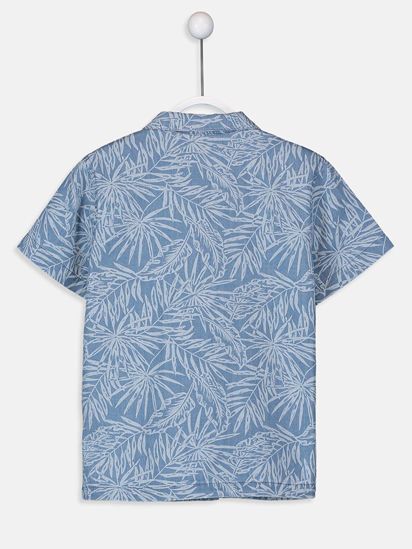 %100 Pamuk %100 Pamuk Jean Gömlek Aksesuarsız Standart Baskılı Astarsız Kısa Kol Erkek Çocuk Desenli Gömlek