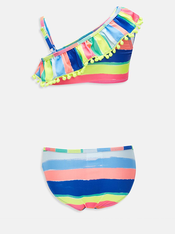Çizgili Bikini Bikini Aksesuarsız Kız Çocuk Omuz Detaylı Çizgili Bikini