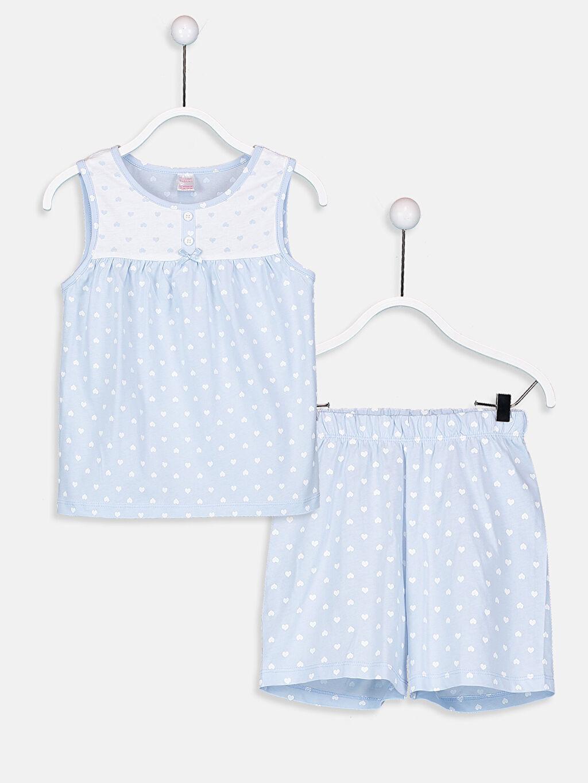 Mavi Kız Çocuk Pamuklu Pijama Takımı 9SG741Z4 LC Waikiki
