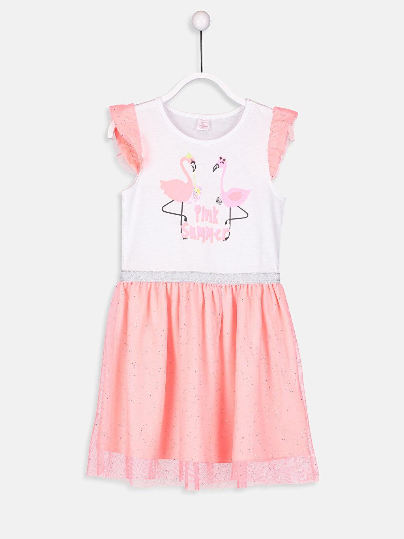 Turuncu Kız Çocuk Baskılı Pamuklu Elbise 9SG962Z4 LC Waikiki