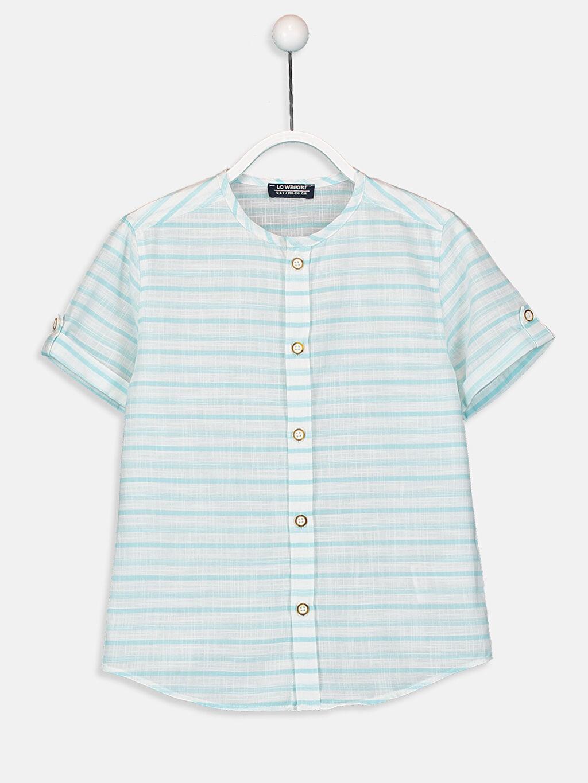 Yeşil Erkek Çocuk Çizgili Poplin Gömlek 9SI300Z4 LC Waikiki