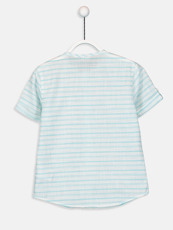 %100 Pamuk %100 Pamuk Kısa Kol Hakim Yaka Poplin Aksesuarsız Gömlek Standart Erkek Çocuk Çizgili Poplin Gömlek