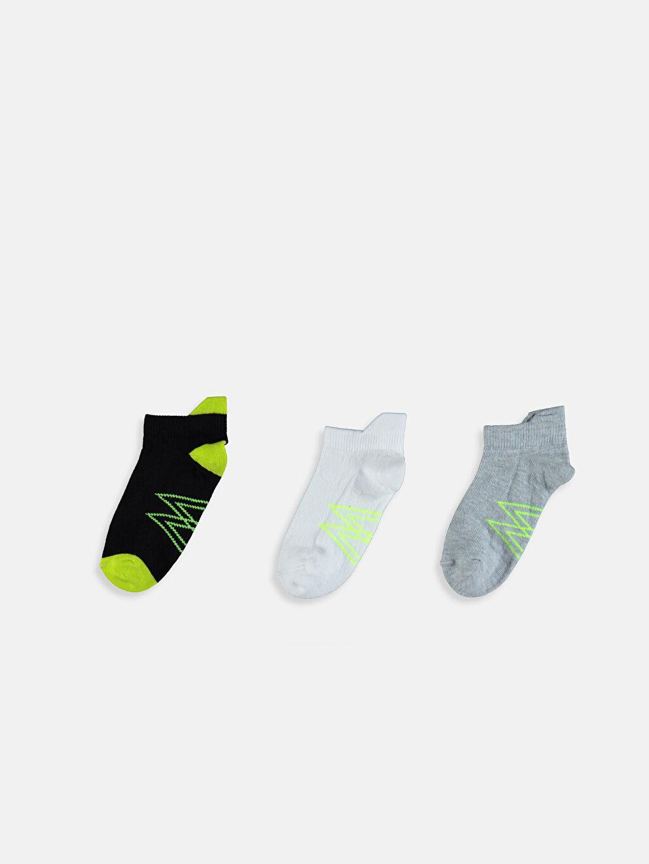%76 Pamuk %22 Poliamid %2 Elastan Baskılı Günlük Orta Kalınlık Patik Çorap Dikişli Erkek Çocuk Patik Çorap 3'lü